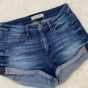 Guess shorts jean folded bottoms booty blue